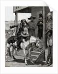 Messenger On Horseback Talks To Men by Corbis