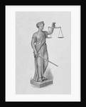 Engraving of Statue of Justice Holding the Scales by Corbis