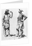 Illustration of Native American Communicating in Sign Language to Black Cavalryman by Frederic Remington