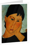 Detail of Female Head from Elvira Resting at a Table by Amedeo Modigliani