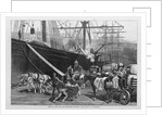 Scene on a New York dock - stevedores unloading a ship by I. P. Pranishnikoff