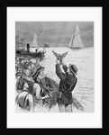 The International Yacht-Races - Dispatching Carrier Pigeons with news of the progress of the race of September 7th. From a sketch by a staff artist by Corbis