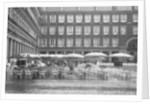Raining on Cafe in Plaza Mayor by Corbis