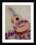 Ukelele and garland, elevated view by Corbis