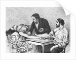 Illustration of a Woman Receiving a Blood Transfusion in February 1882 by Corbis
