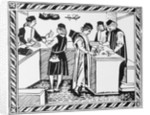 15th-Century Woodcut of an Italian Banking House by Corbis