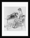 Print of Wireless Operator Typing a Telegram by Corbis