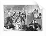 Engraving of a Suspect Fainting Before Judge During Witch Hunt Trial by Darley