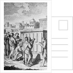 Engraving of Romans Looking at Law Tablets by Corbis