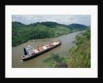Cargo Ship and Small Boat in Culebra Cut by Corbis