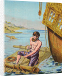 Book Illustration of Robinson Crusoe Tying Together a Raft by Corbis