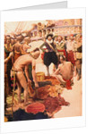Illustration of Henry Hudson Trading Furs with Native Americans by Corbis