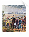 Engraving of Brigham Young Leading Expedition to Salt Lake, Utah by Corbis