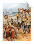 Lithograph of Civil War General Robert E. Lee and His Men Gazing over Terrain by Corbis