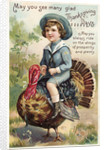 Boy Riding Atop of Turkey by Corbis