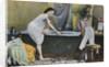 Woman Testing Water Temperature in Bathtub by Corbis