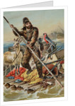 Character from Robinson Crusoe Riding on Raft by Corbis
