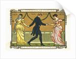 19th-Century Illustration of a Man Dancing Between Two Women by Corbis