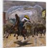 Cowboy Lassoing Renegade Oxen by Corbis