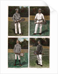 Illustrations Depicting Early Tennis Players with Their Racquets by Corbis