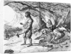 Illustration of Cave Dwellers Outside Their Cave with Dogs by Corbis