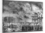 Illustration of Crowd Outside Burning Buildings by Corbis