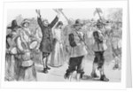 Illustration of Mary Dyer, William Robinson, and Marmaduke Stevenson Walking to Their Execution by Corbis