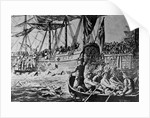 Drawing Depicting the Boston Tea Party by W.L. Greene