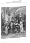 Drawing of Mozart Playing Organ for Gathering by Corbis