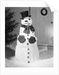 Dapper Snowman Outside a House by Corbis