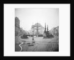 Scaffolding Around a Fountain in a Public Square by Corbis