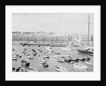 Boats in Harbor Outside City by Corbis