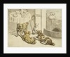Morning Engraving of Pets Assembled Beside a Breakfast Table by Corbis