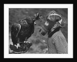 Masked Child Looking at Eagle by Corbis