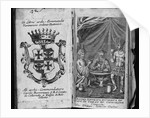 Coat of Arms of Colleredo-Meinz and Wallese Family and Three Men With New Drinks From Their Country of Origin by Corbis