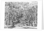 Tuppin Ikin and Tuppin Inwa Indians Battle by Theodor de Bry From America by Corbis
