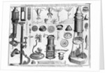 Eighteenth Century English Engraving Assorted Microscopes and Apparatus by Corbis