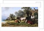 Cattle in a Farmyard Along a River with a Fisherman Beyond by Friedrich Johann Voltz
