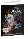An Arrangement of Tulips, Narcissi, Auriculas, Poppies, Lilies, Columbines, Ranunculas, and Other Flowers in a Vase by J.A. Simson