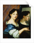 Portrait of a Lady, Half Length, Holding a Mirror attributed to Nicolas Mignard by Corbis