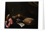 Lutes and Violin on a Table, a Curtain to the Right by Evaristo Baschenis