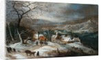 A Winter Landscape with Figures on a Road by a Village by Joos de Momper the Younger