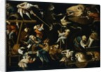 Imaginary Animals and Dwarfs Fighting, Drinking and Carousing Attributed to Faustino Bocchi by Corbis