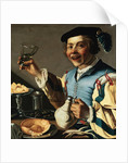 A Laughing Boy Holding a Jug and a Glass of Wine by Christiaan van Couwenbergh