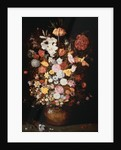A Crown Imperial, a Peony and Other Flowers in a Wooden Tub with Butterflies and Beetles by Jan Brueghel the Younger