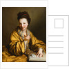 A Young Lady, Wearing a Yellow Robe, Seated at a Table, Beckoning by Jean-Baptiste Santerre