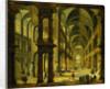 An Imaginary Church Interior with Figures by Bartholomeus van Bassen