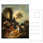 A Pastoral Landscape with a Shepherd and Shepherdess Seated by Ruins by Francois Boucher
