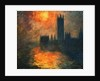 The Parliament, Sunset by Claude Monet
