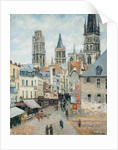 Grocer Street in Rouen, Early Morning by Camille Pissarro
